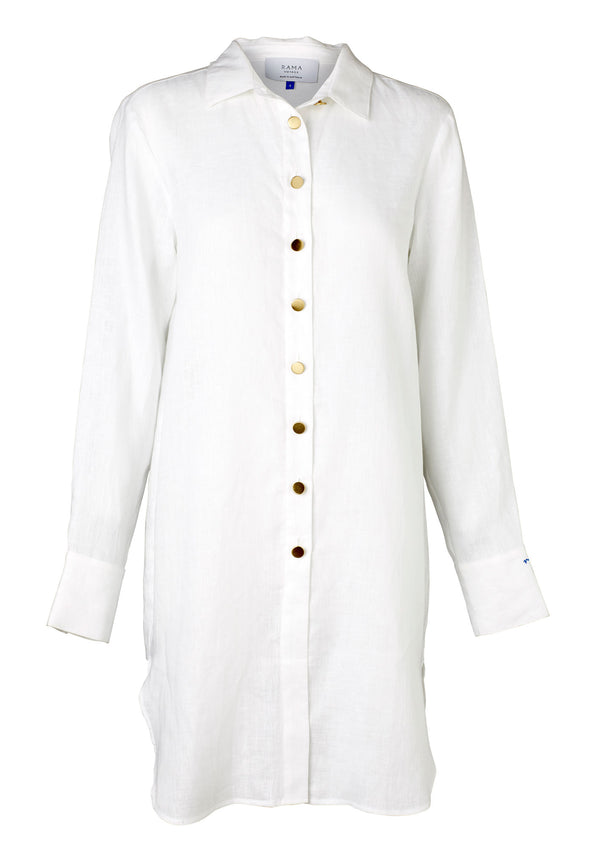 Fontana Shirt Dress (White Linen)