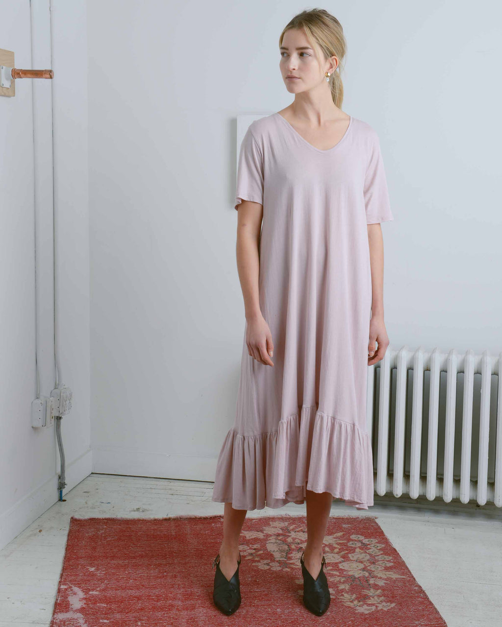 Baby Pink Gather Hem Dress