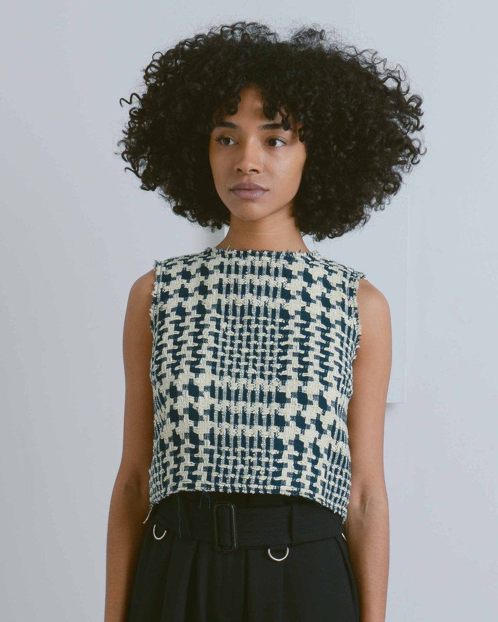 Green Lou Tweed Crop Top