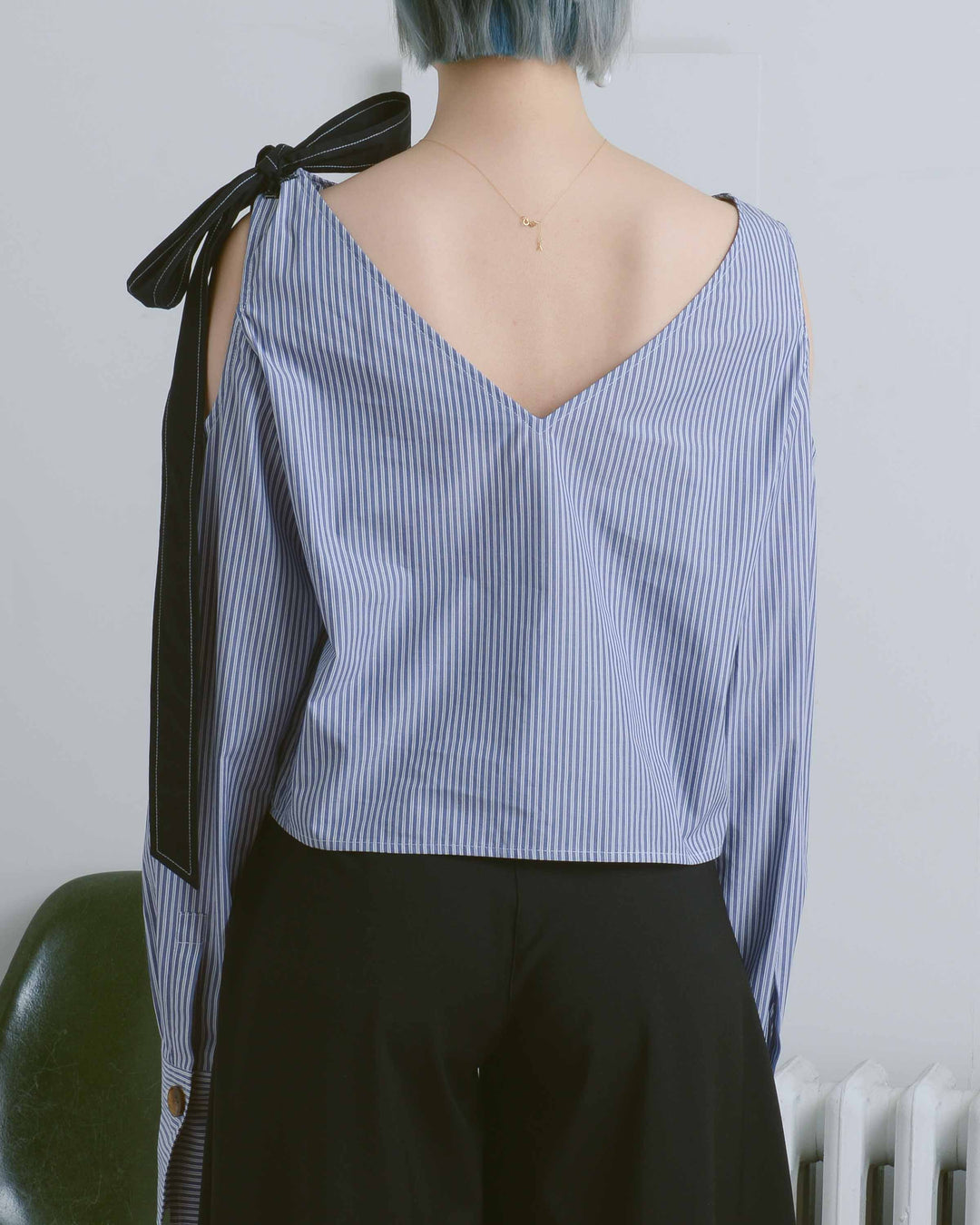 Natalie Blue Striped Cropped Top