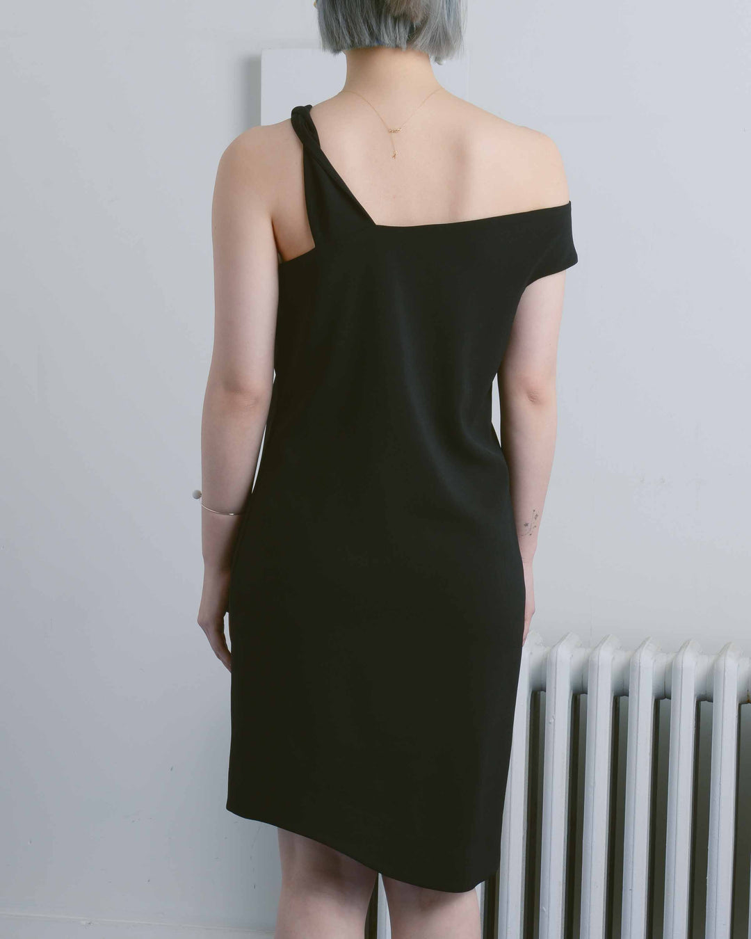 Twisted Shoulder Shift Dress