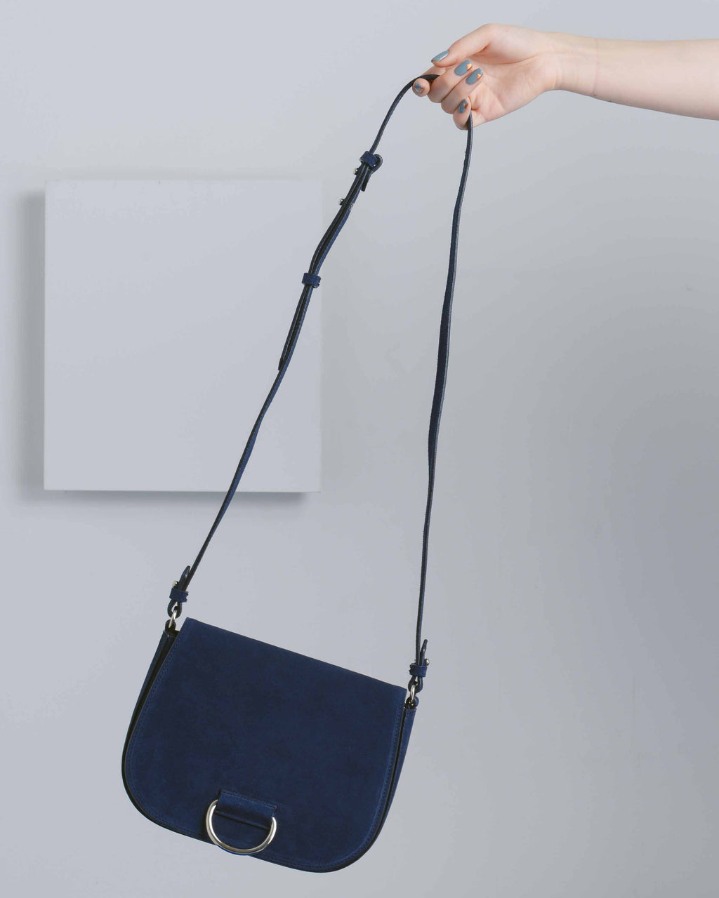 Navy Suede D Saddle Bag