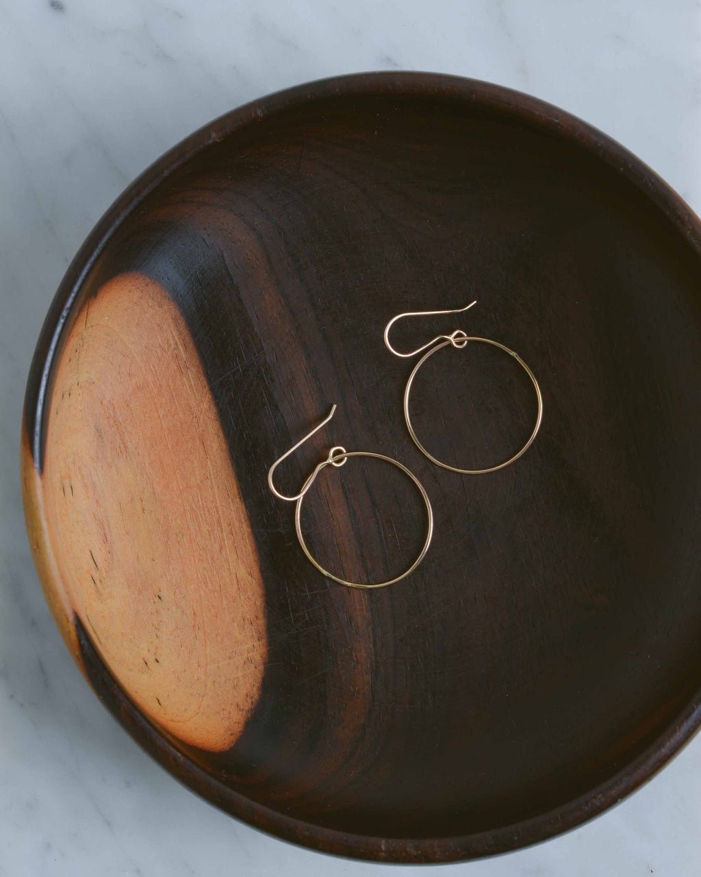 14K Gold Drop Hoop Earrings