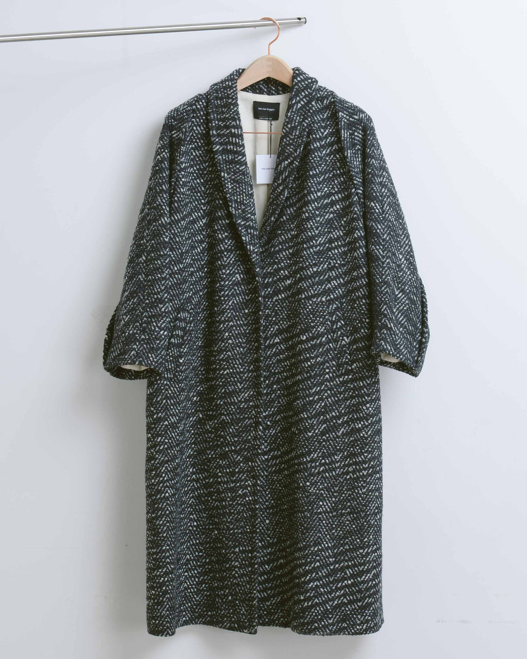 Black Boucle Coat with Seam Detail