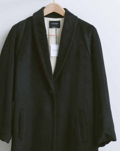 Black Wool Loose Heavy Coat
