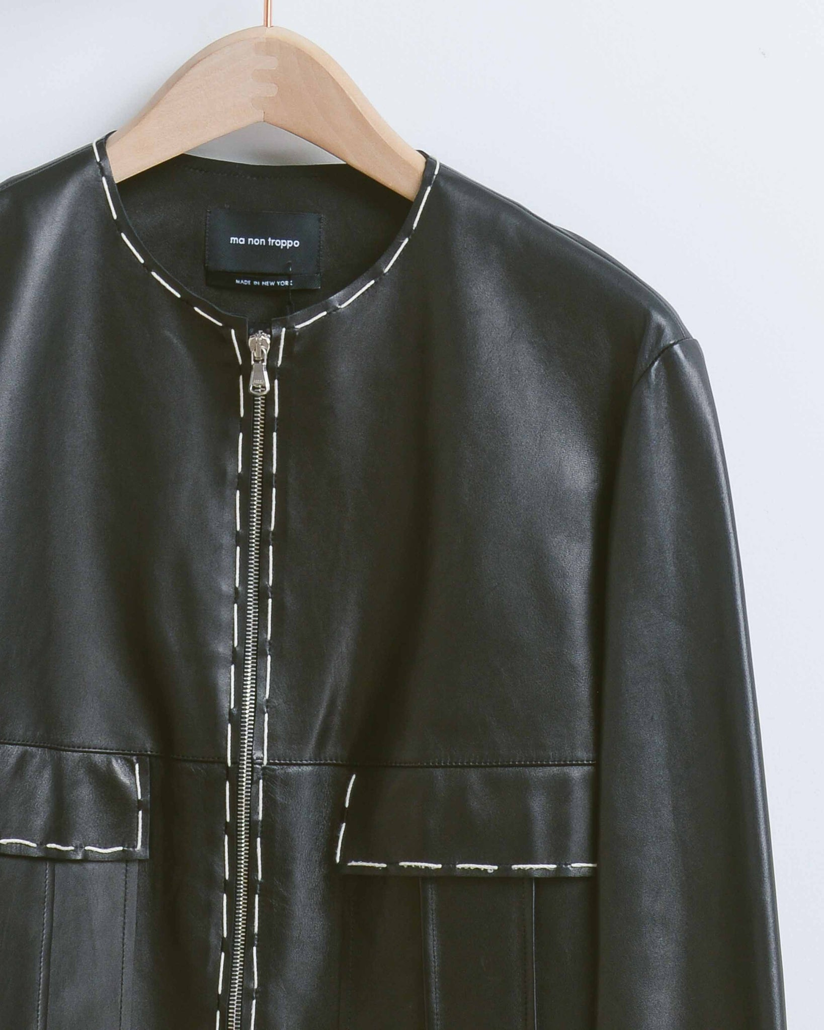 Black Leather Contrast Stitch Jacket