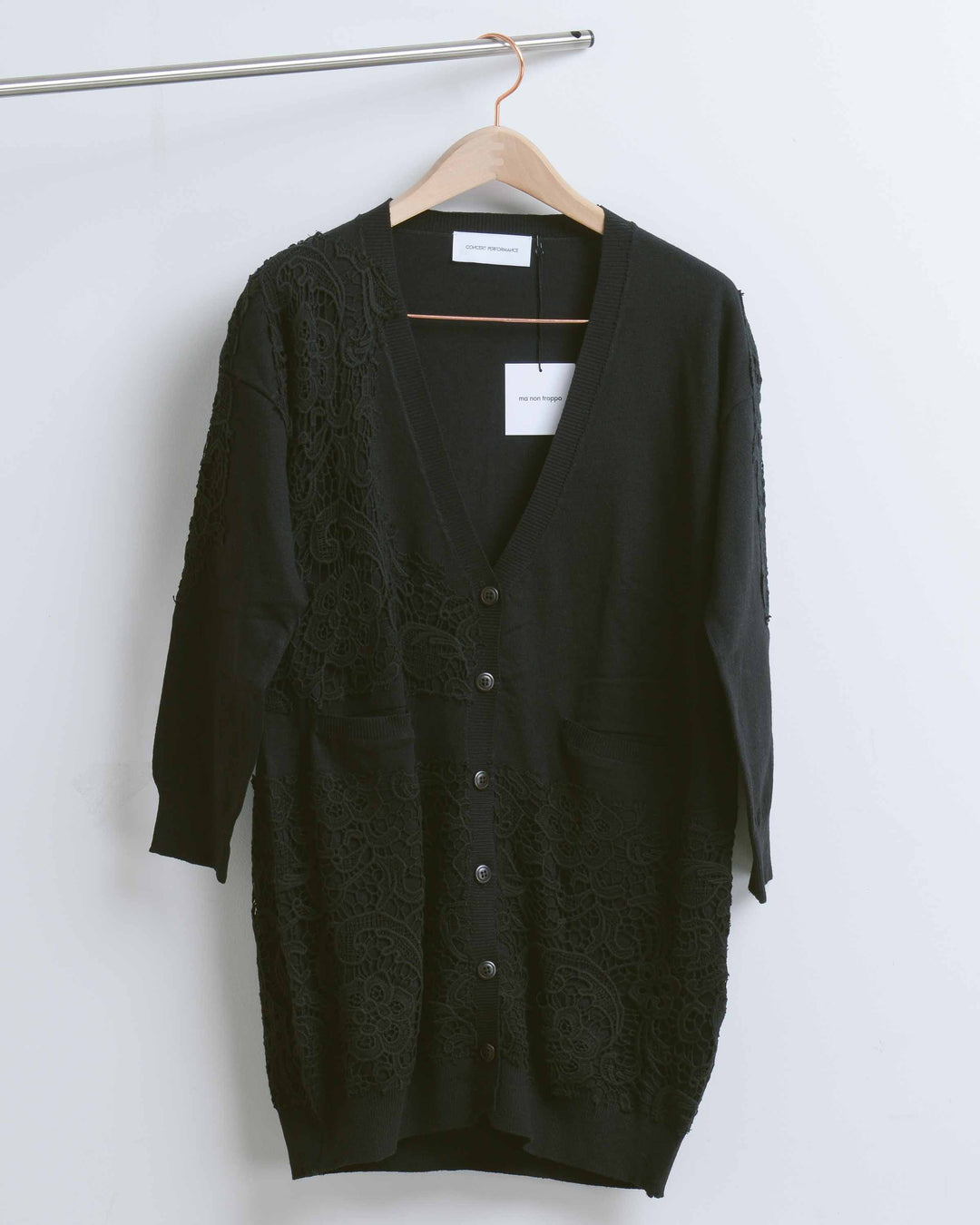 Black Knit Lace Cardigan