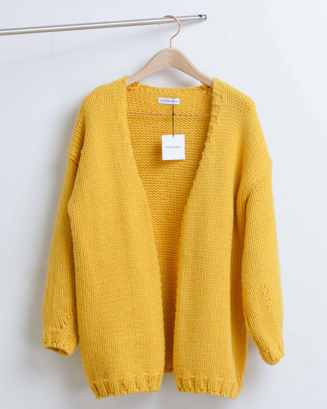 Yellow Wool Knit Cardigan