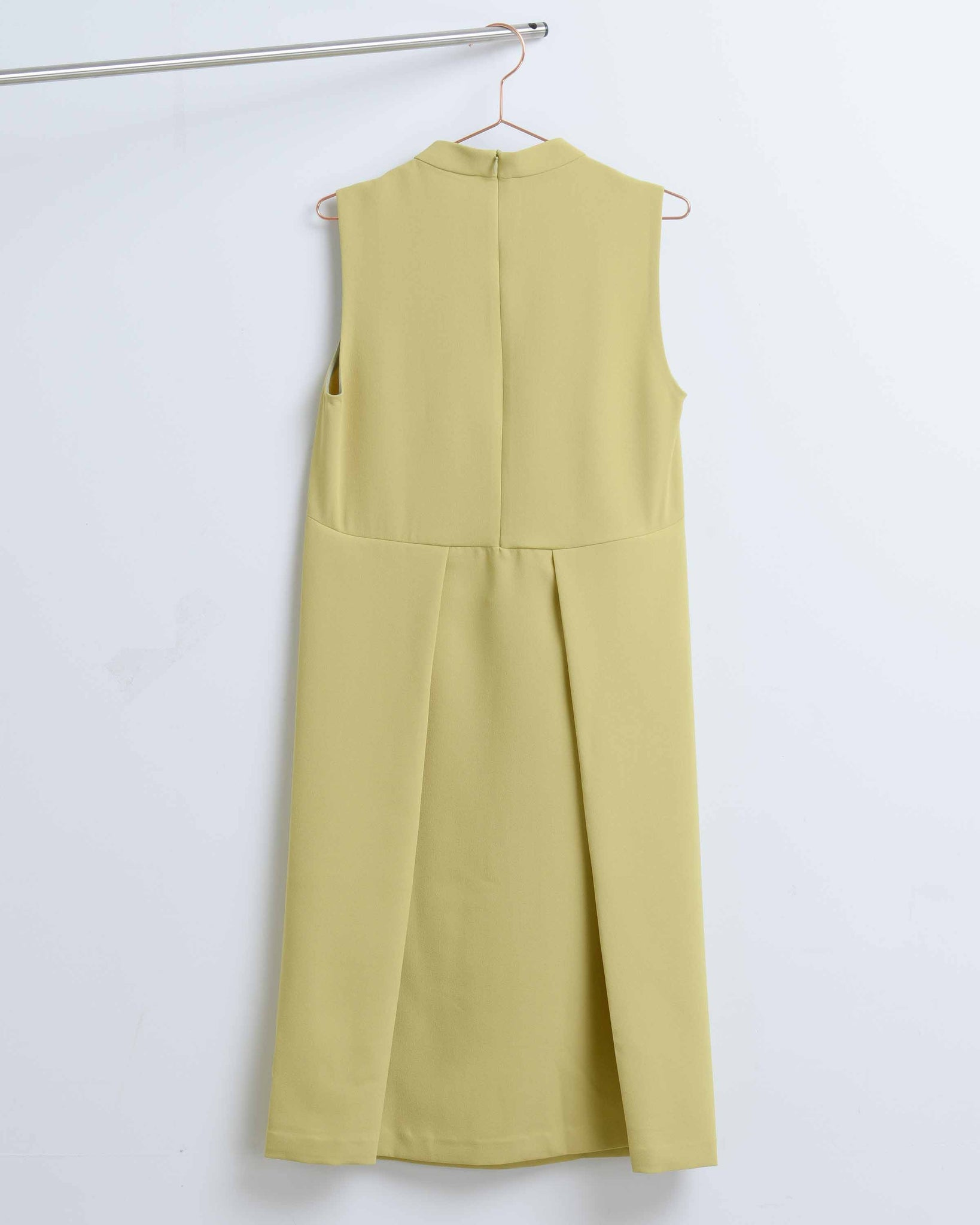 Avocado Pleat Slit Dress