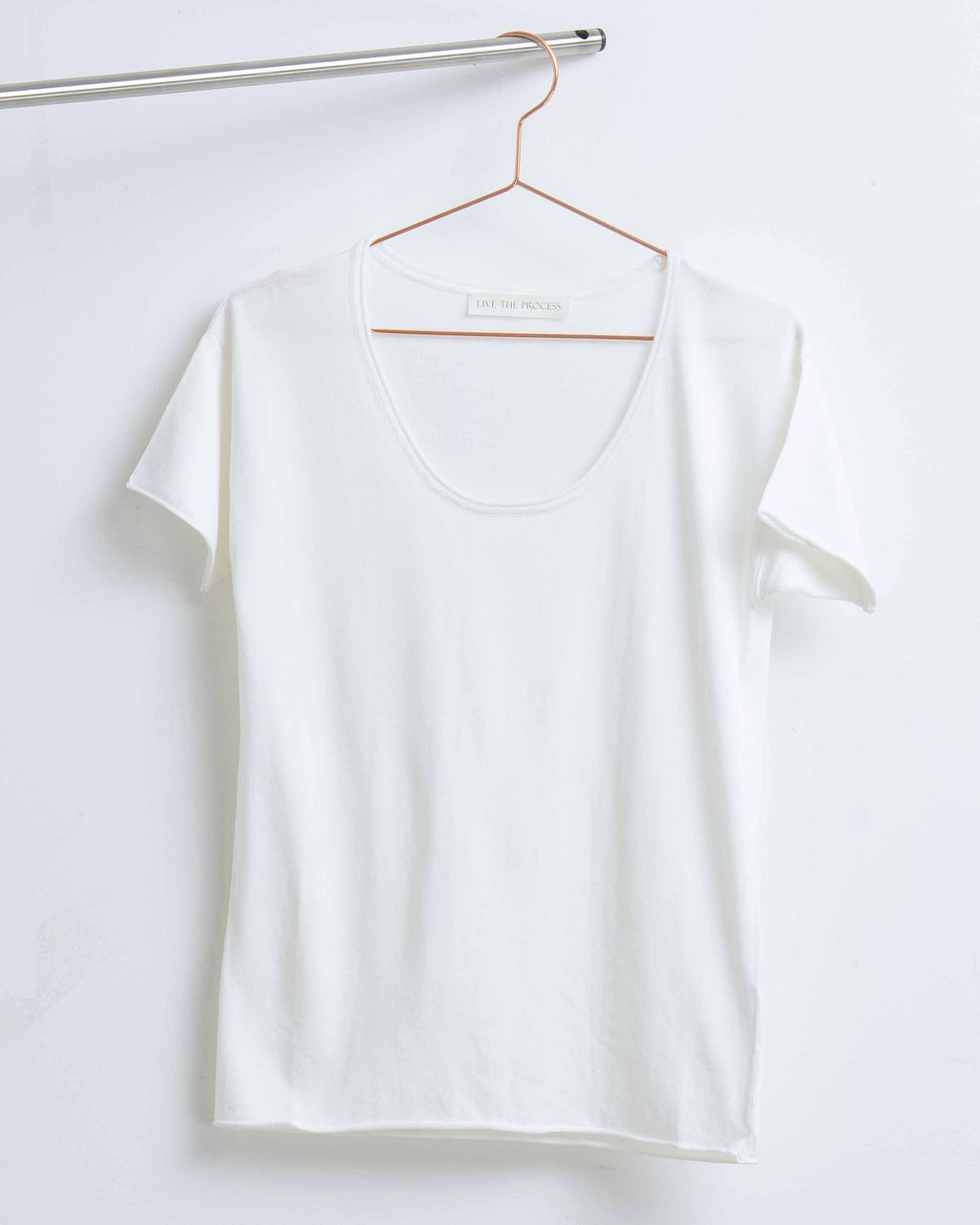 White Wide Neck Tee