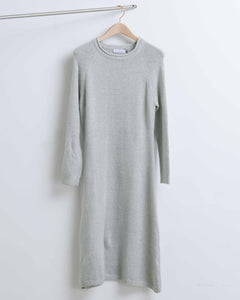 Grey Wool Crewneck A-line Knit Dress