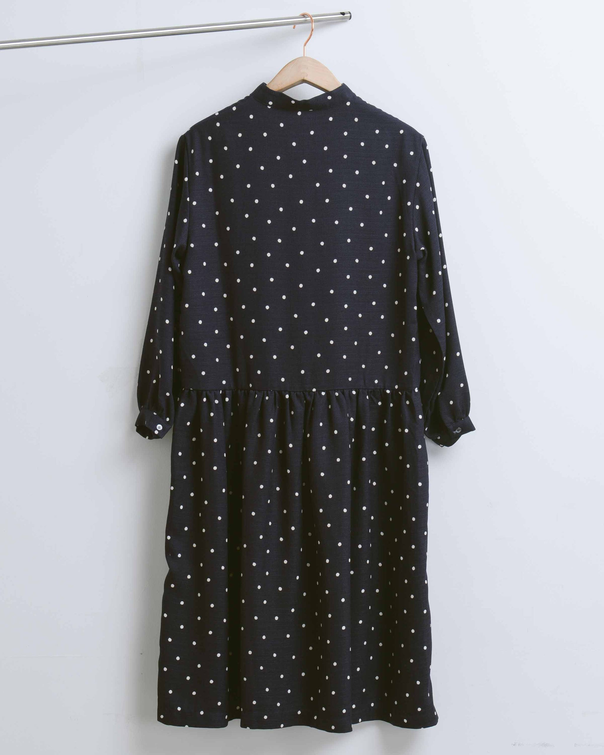 Navy Dot Low Waist Dress