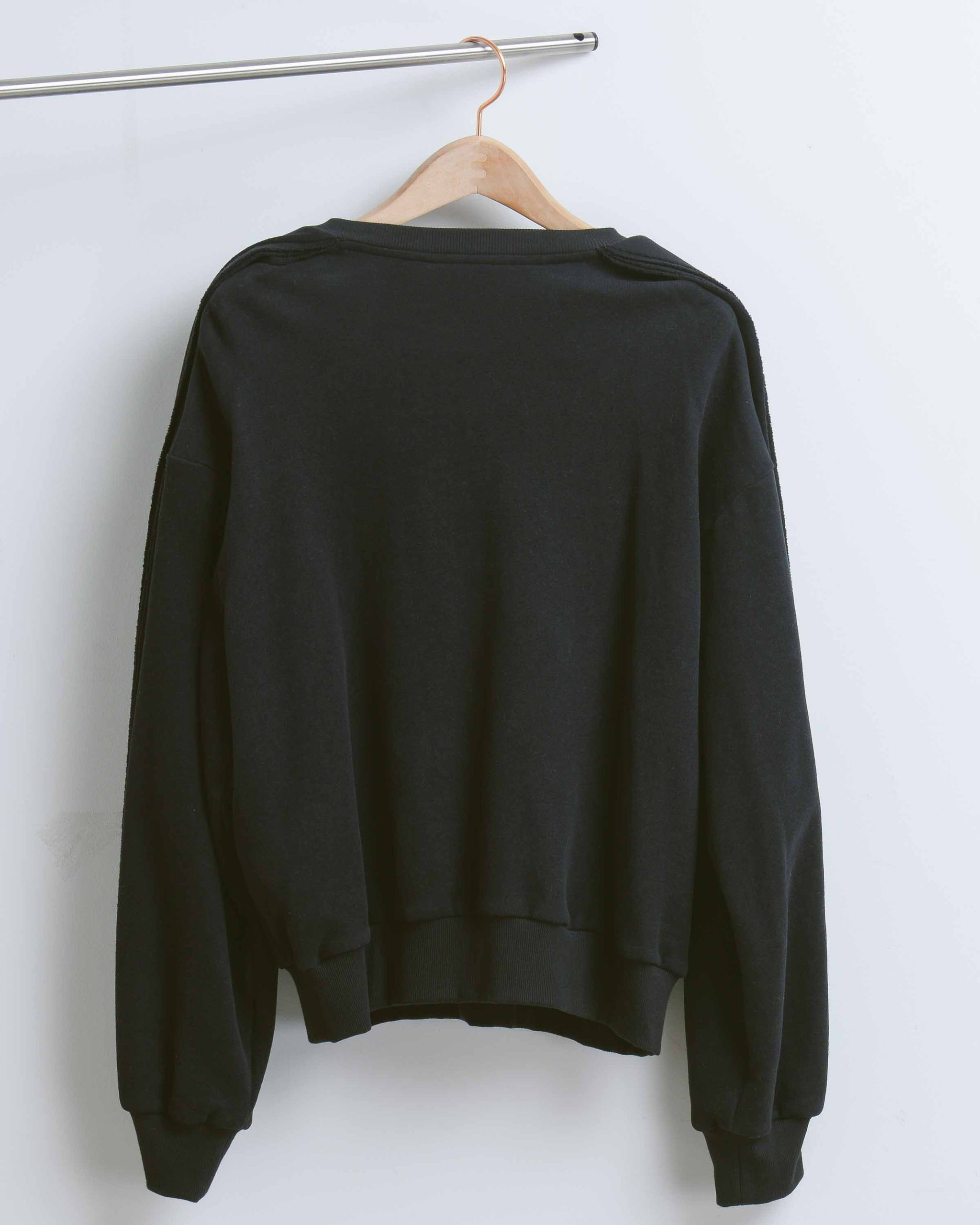 Black Raw Sliced Sleeve Sweatshirt