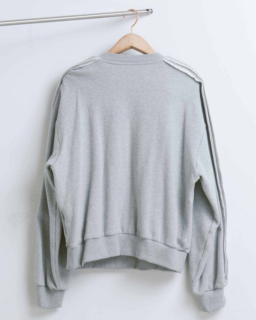 Grey Raw Sliced Sleeve Sweatshirt