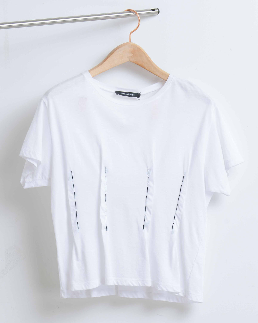 White Top with Black Dart Stitches