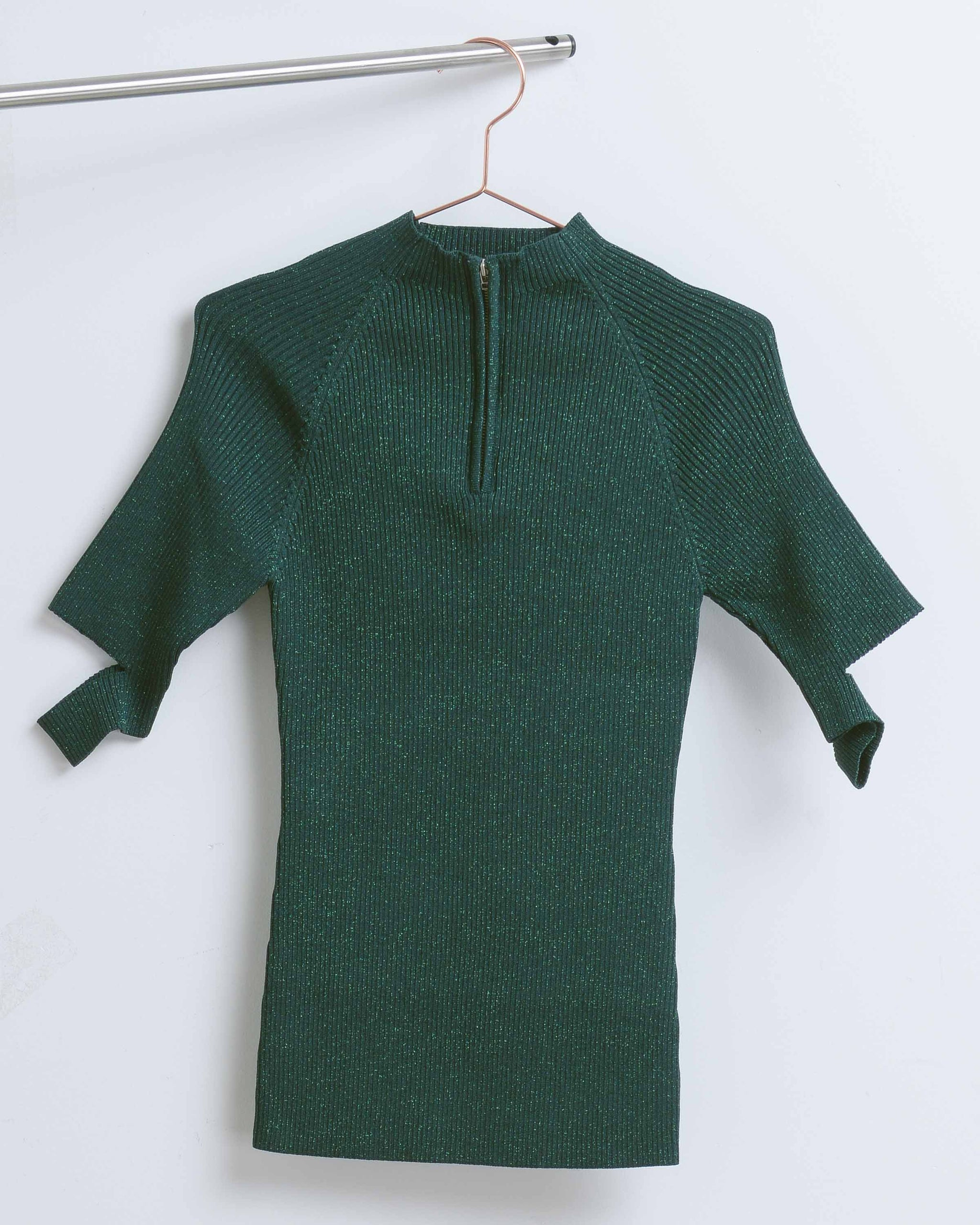 Forest Zip Mockneck Top