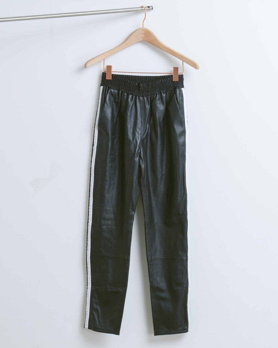 Black & White Rival Leather Pant