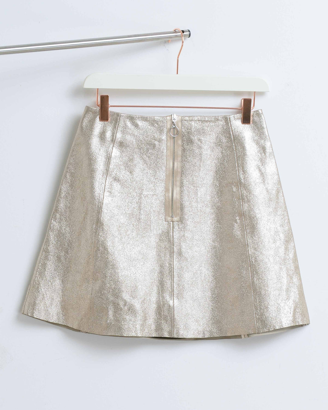 Champagne Leather Circle Skirt