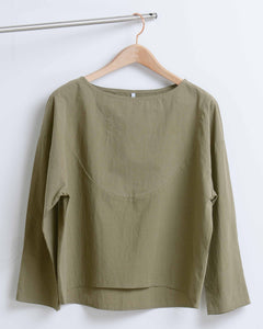 Olive Green Cotton Long Sleeve Blouse