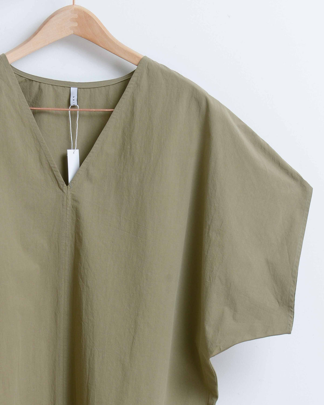 Khaki Green V-Neck Front Seam Long Dress