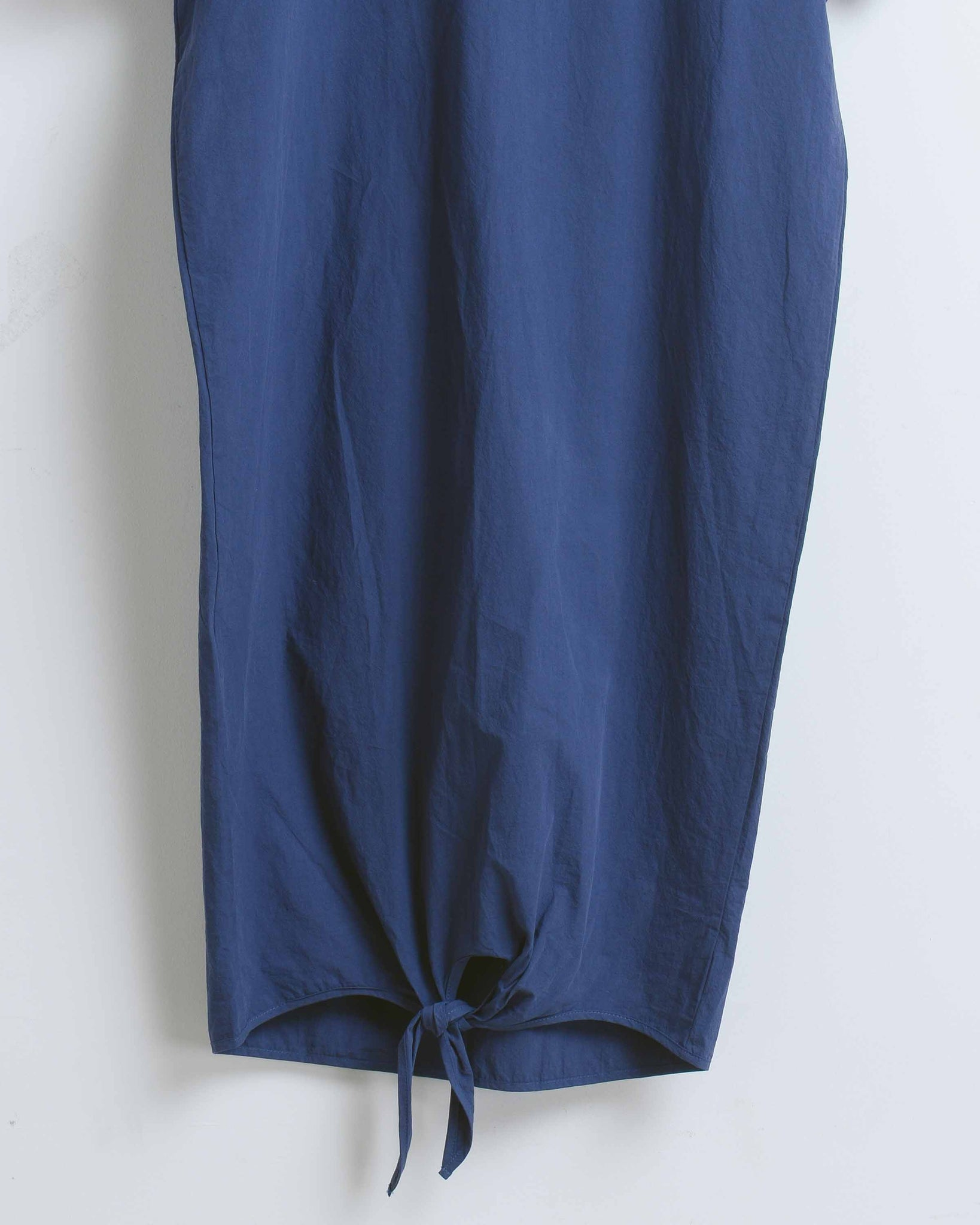 Navy Cotton Front Tie Long Dress