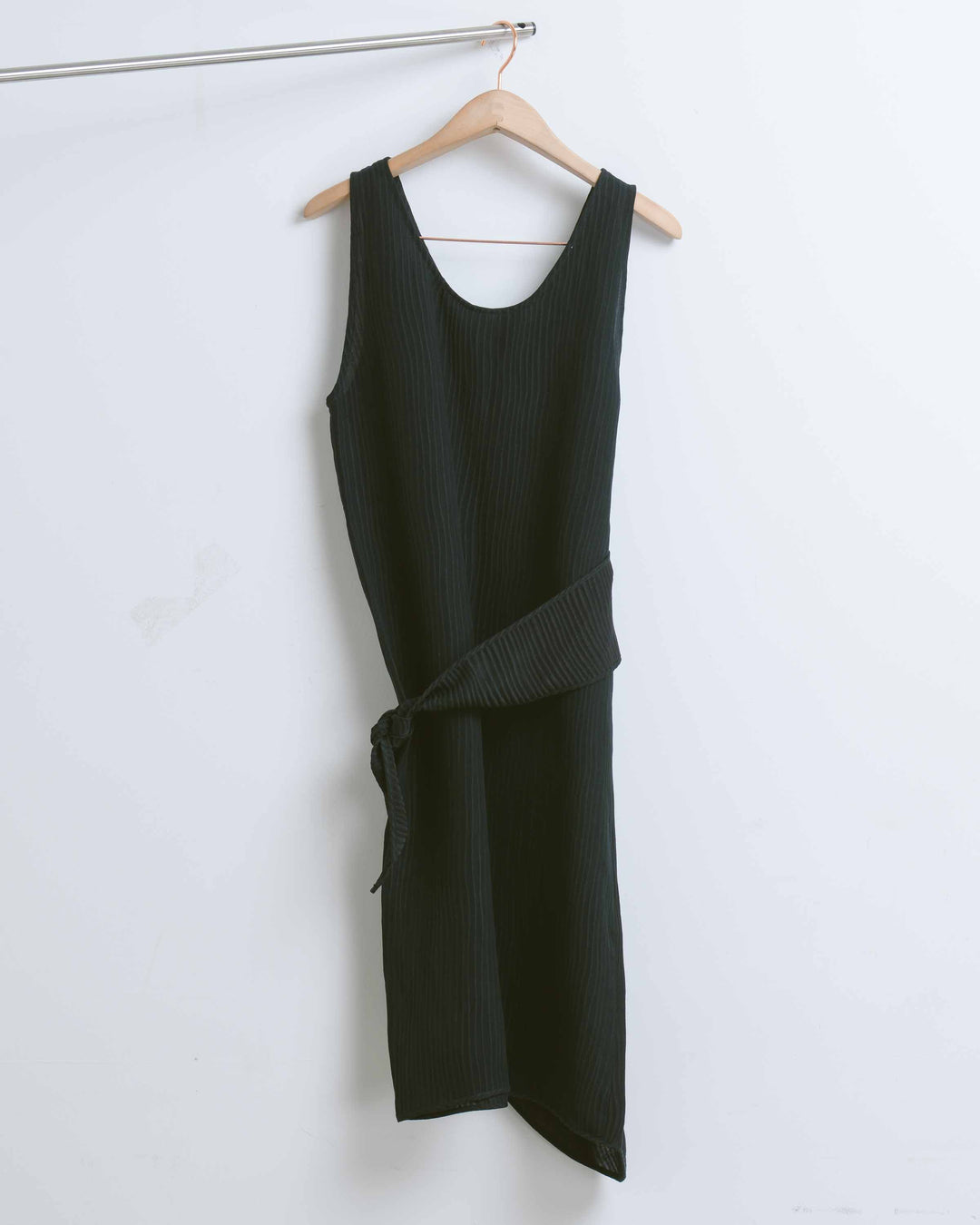 Black Textured Side Wrap Tie Dress