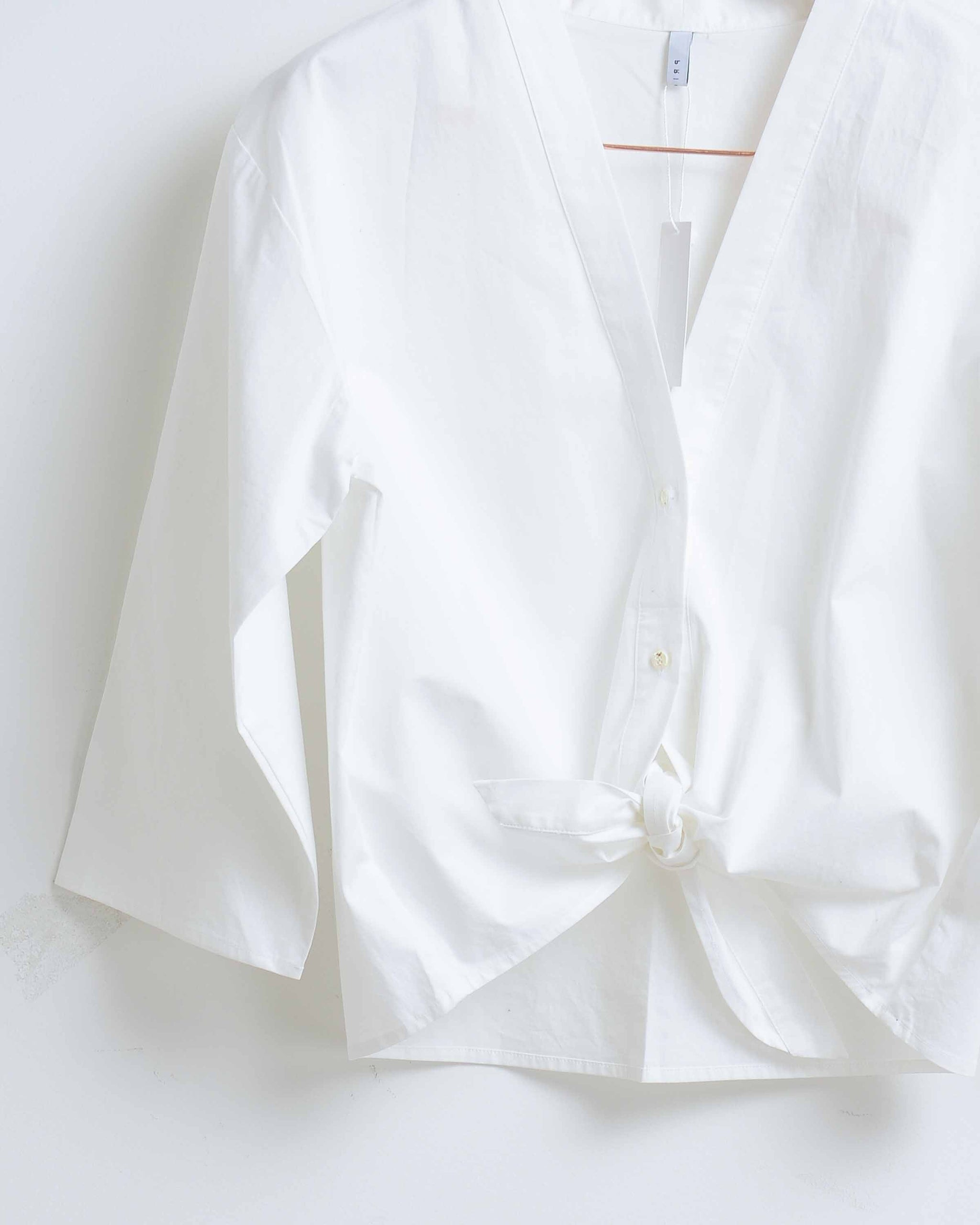 White Cotton Button Down Front Tie Blouse