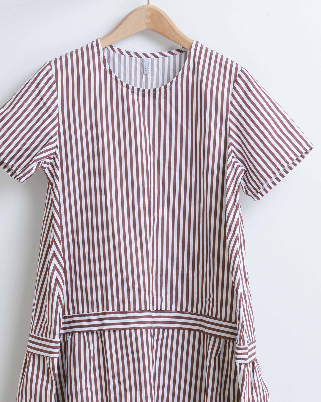 Maroon & White Cotton Striped Dress