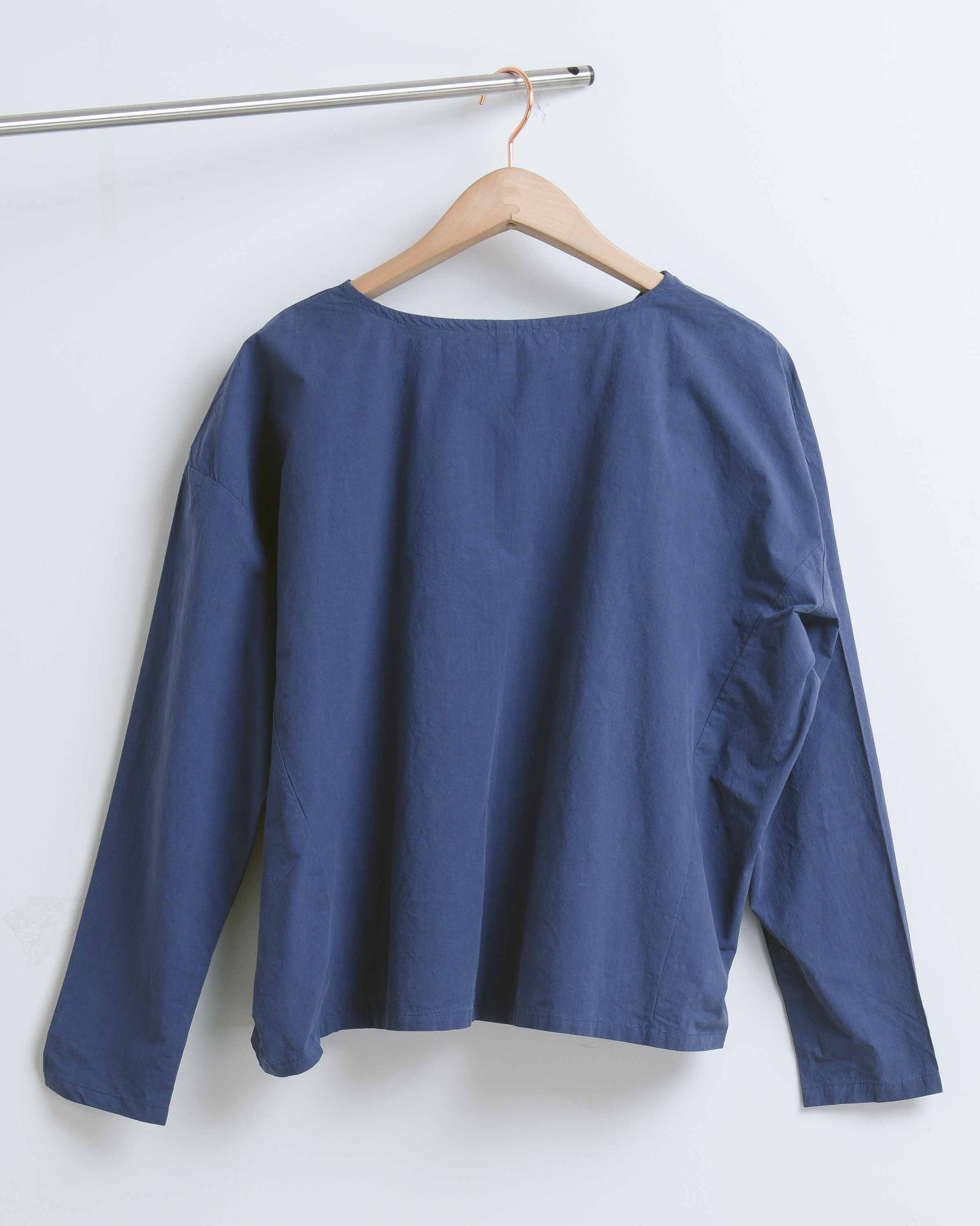 Blue Cotton Long Sleeve Double Front Slit Blouse