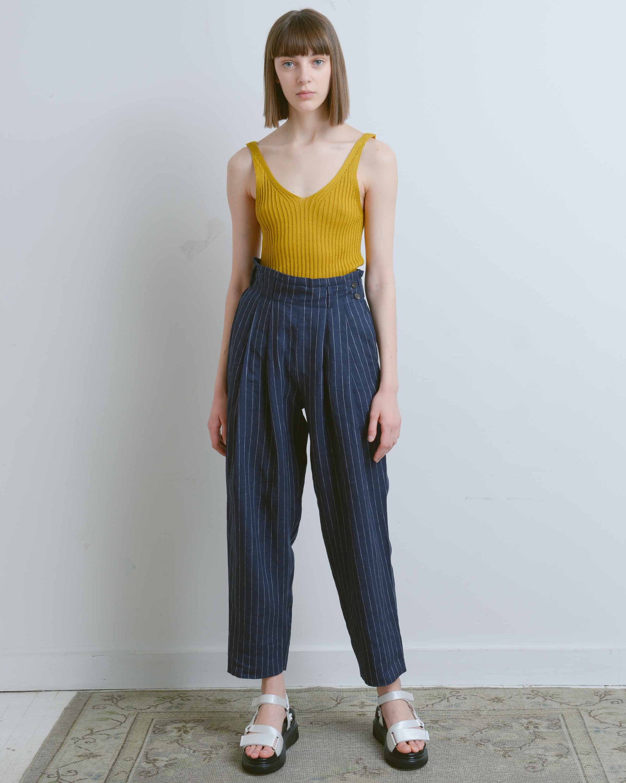 Navy Striped Linen Peg Leg Pants