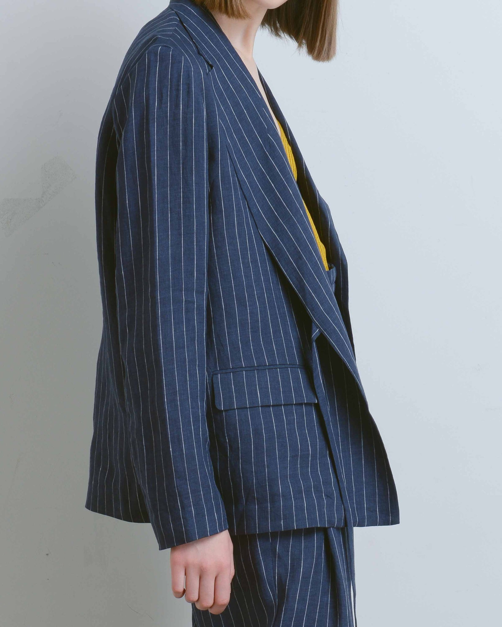 Navy Striped Linen Side Tie Blazer