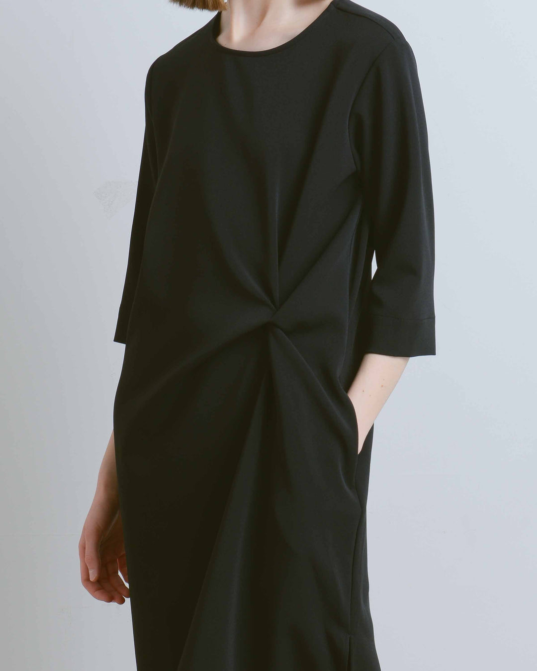 Black Knot Drape Dress