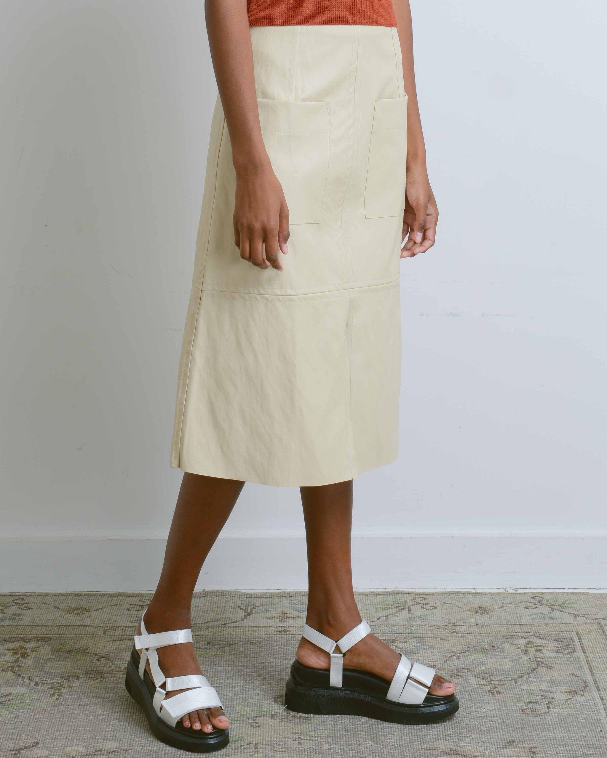 Cream Vegan Leather A-Line Skirt