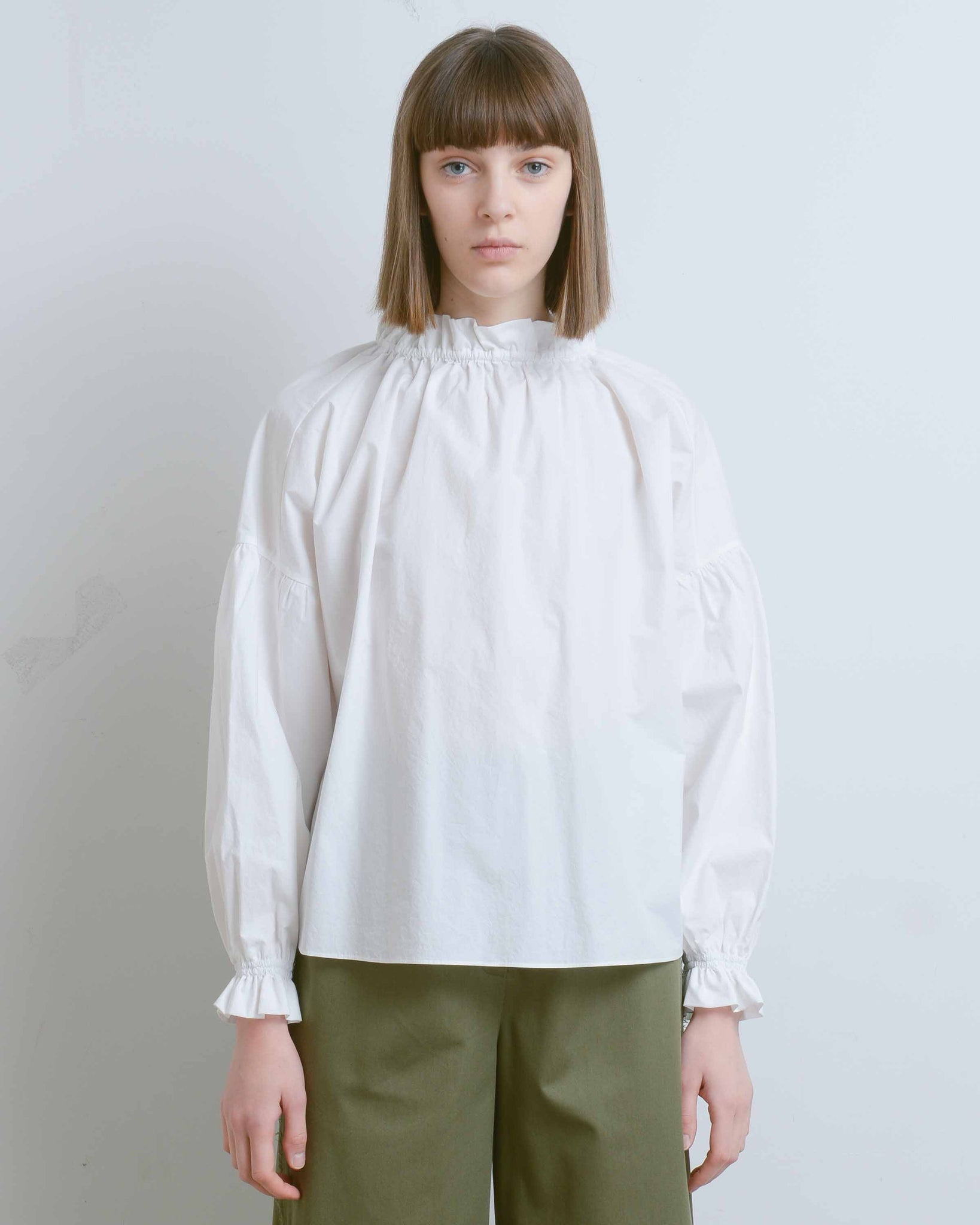White Victoria Mock Neck Blouse