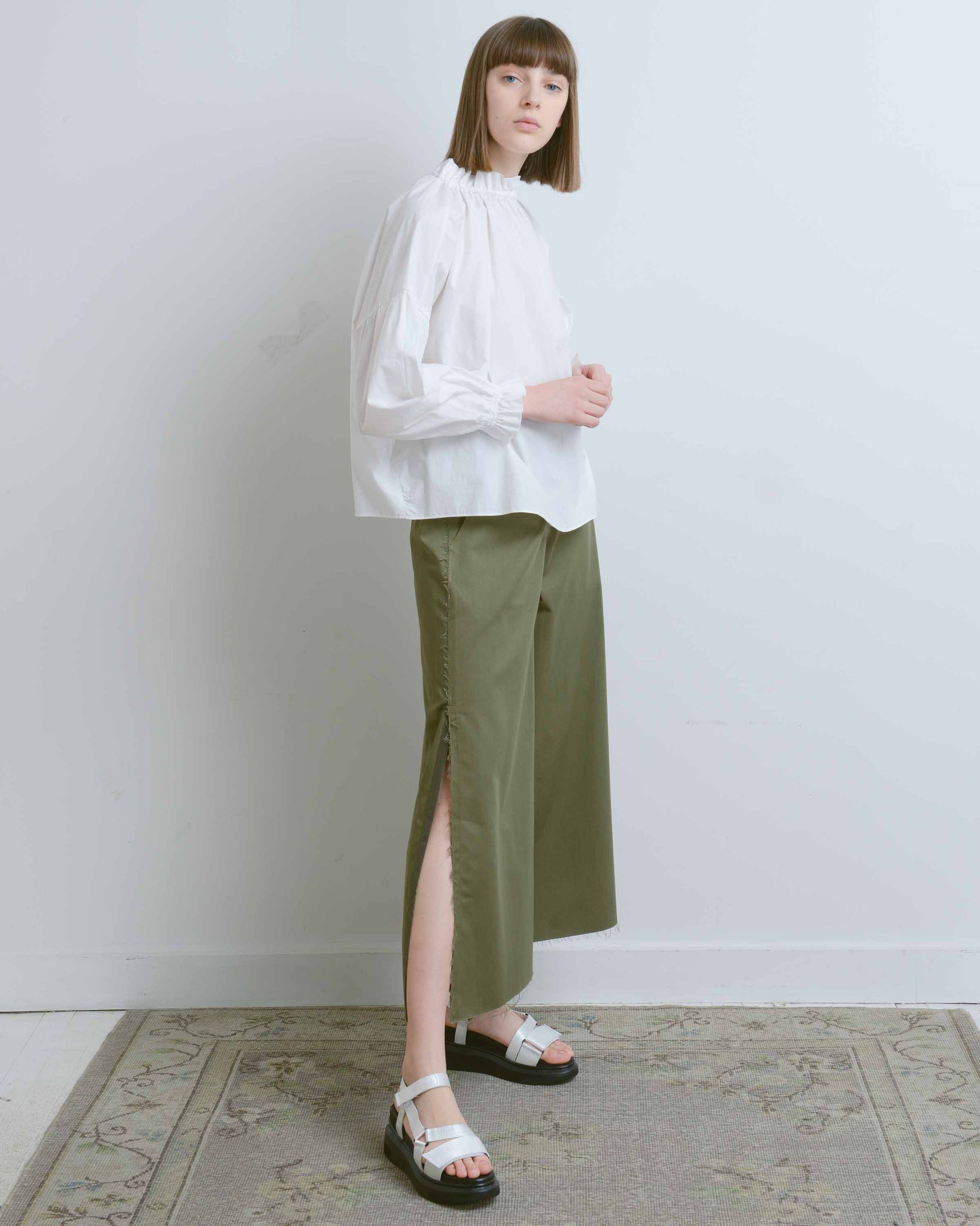 Olive Raw Edge Slit Wide Pants