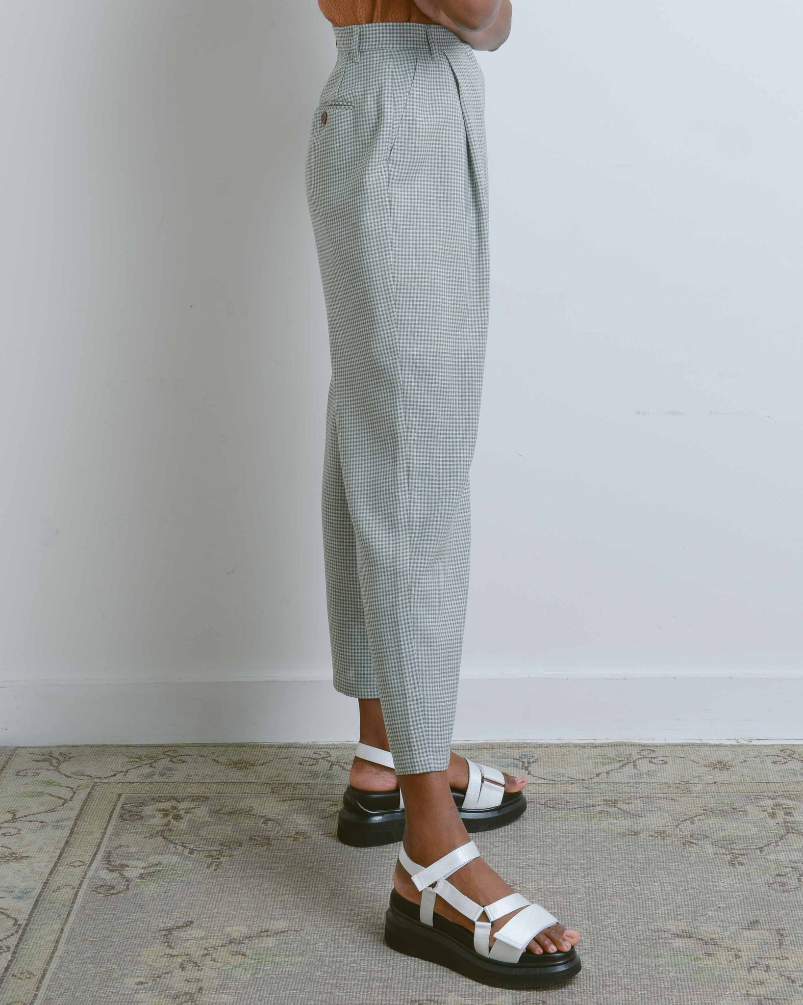 Green Gingham Vichy Linen Pants