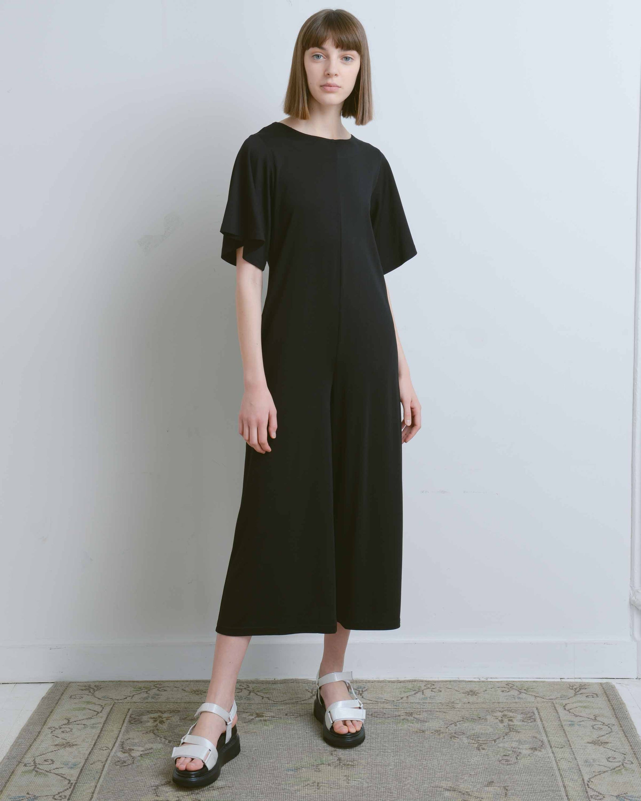 Black Open Back Shirring Jumpsuit