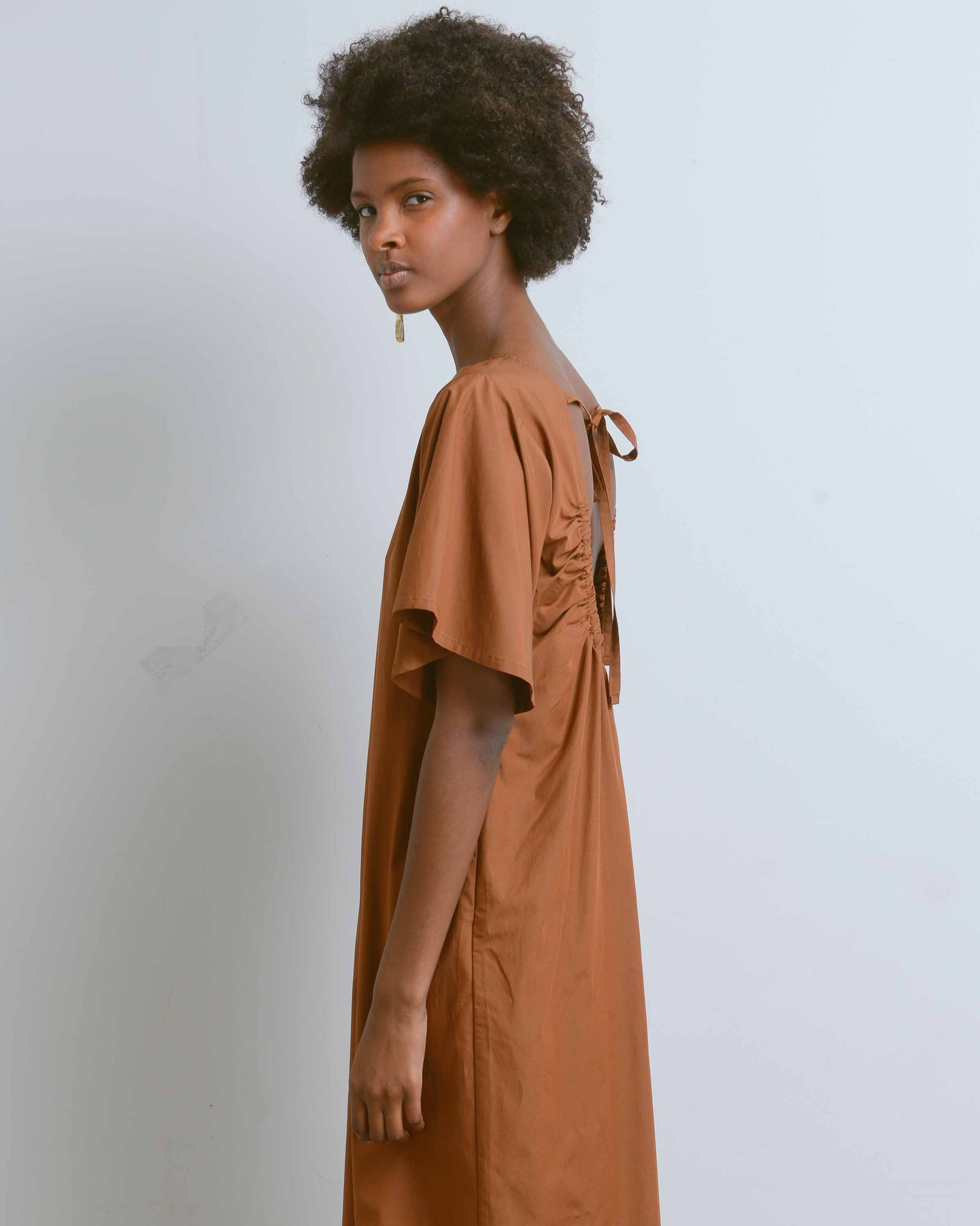 Brown Open Back Shirring Dress