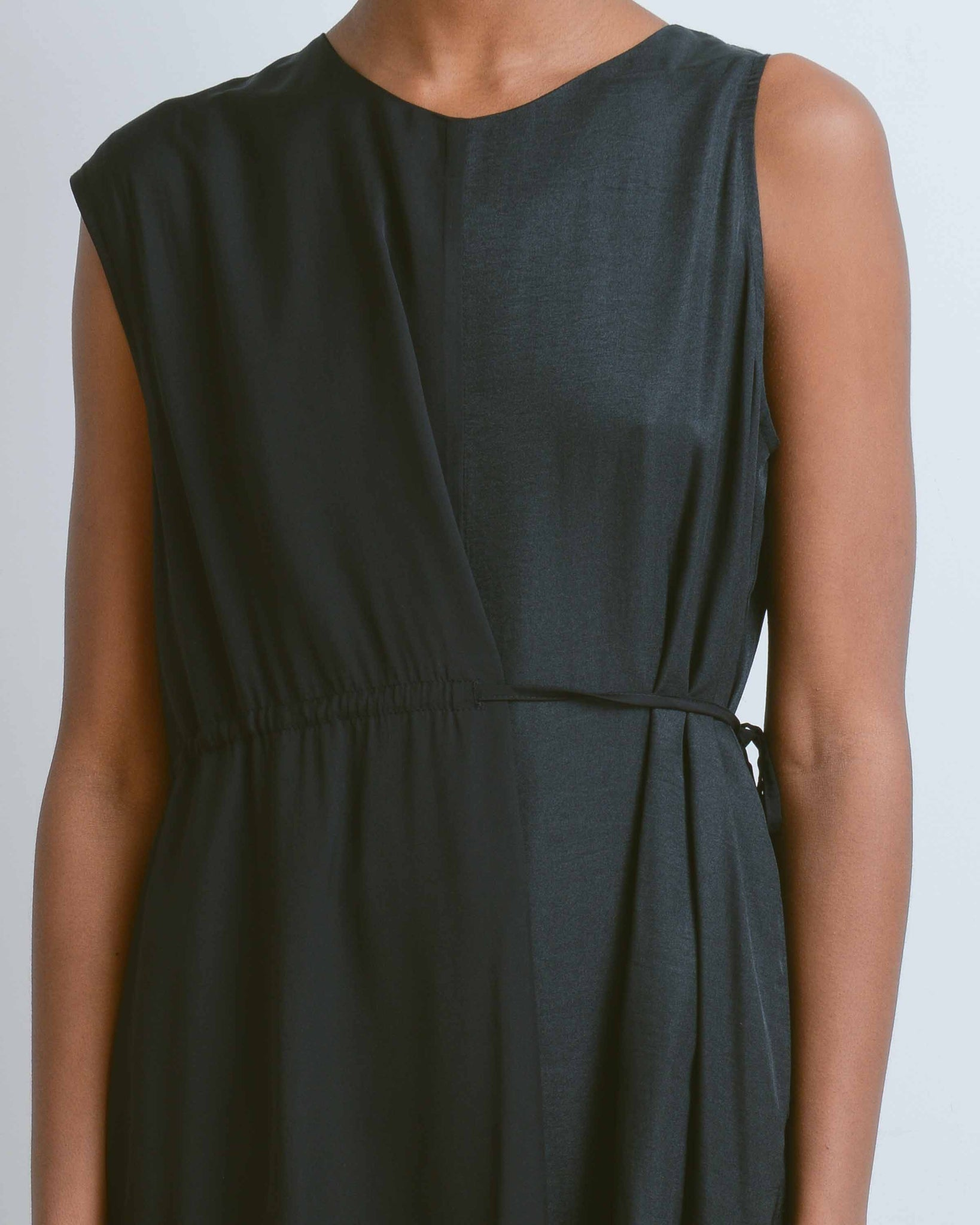 Black Asymmetric Column Dress