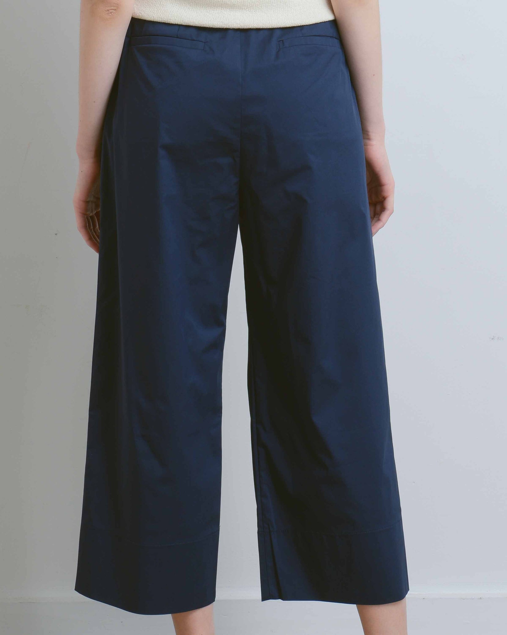 Navy Wide Crop Cotton Pants