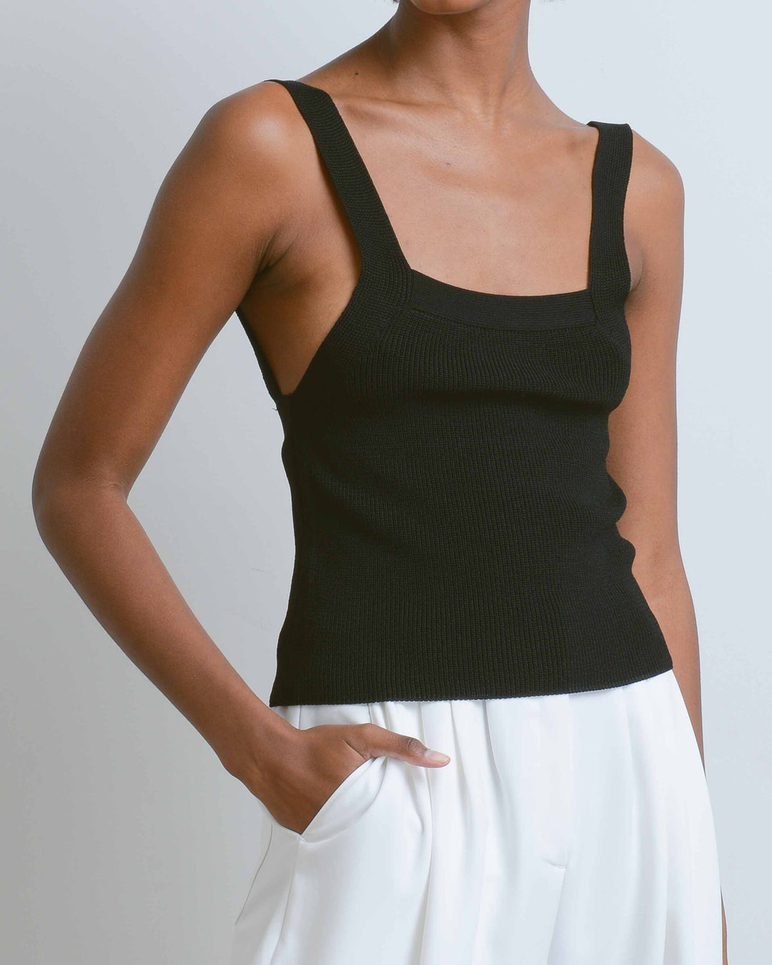 Black Strap Knit Top