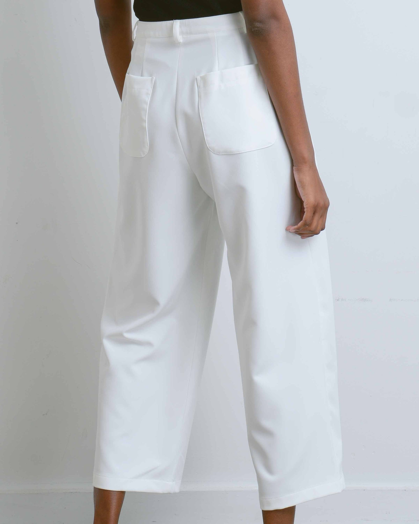 White 4 Tucks Joy Pants