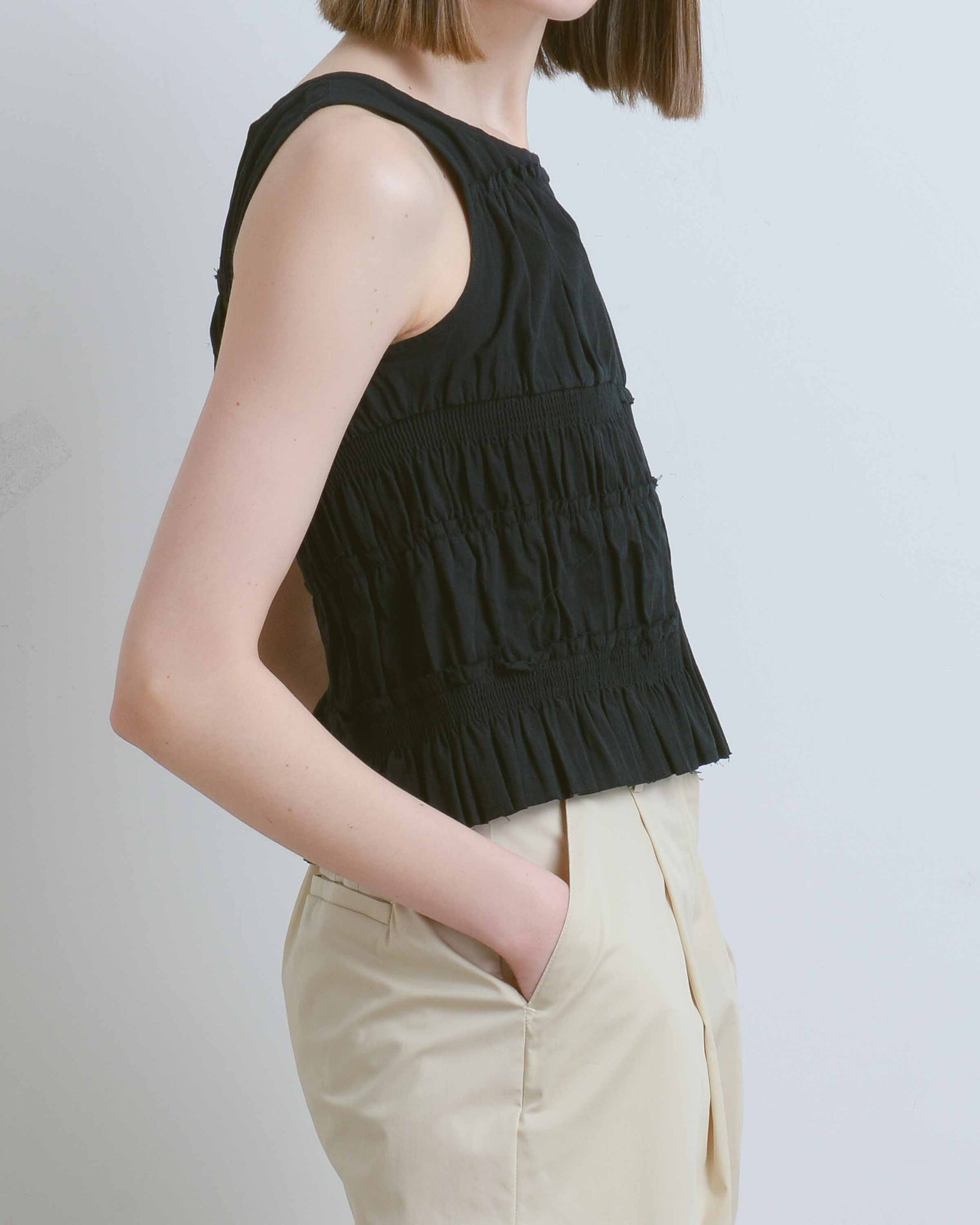 Black Hawaiiana Shirring Top