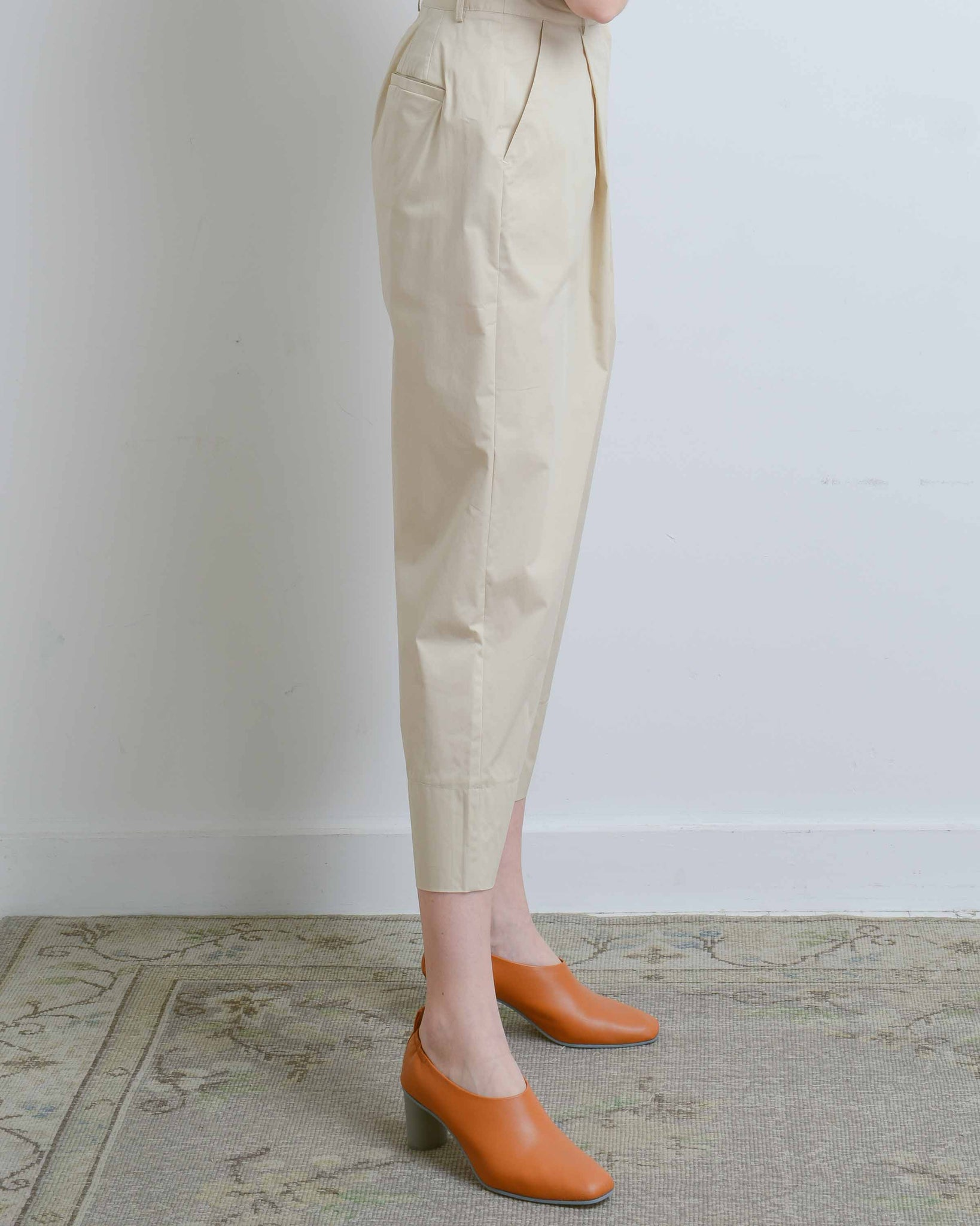 Beige Wide Crop Cotton Pants