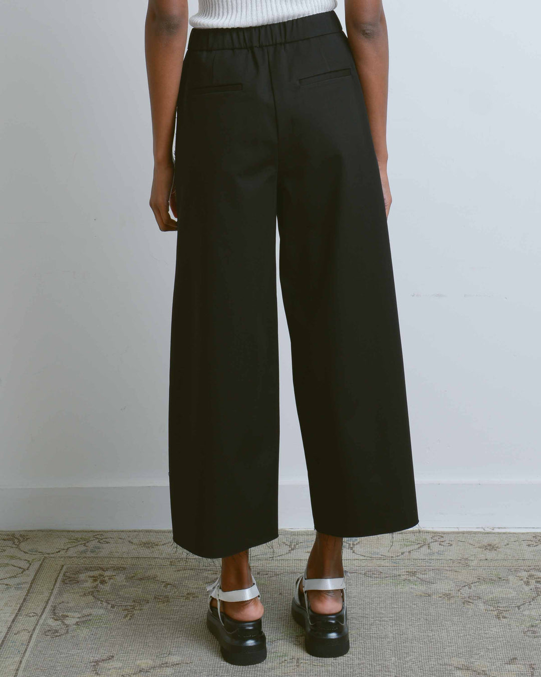 Black Raw Edge Slit Wide Pants