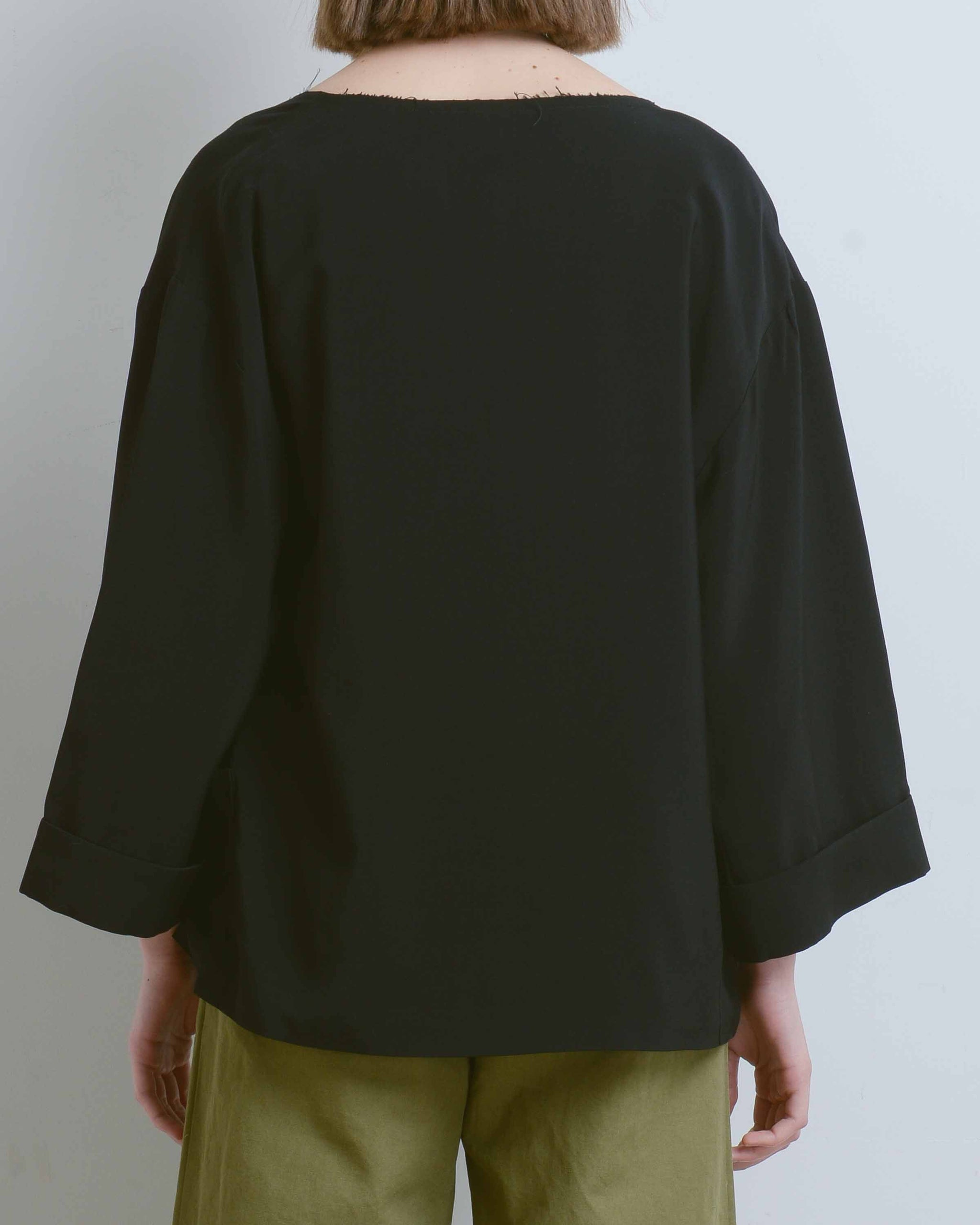 Black Raw Edge Collarless Jacket