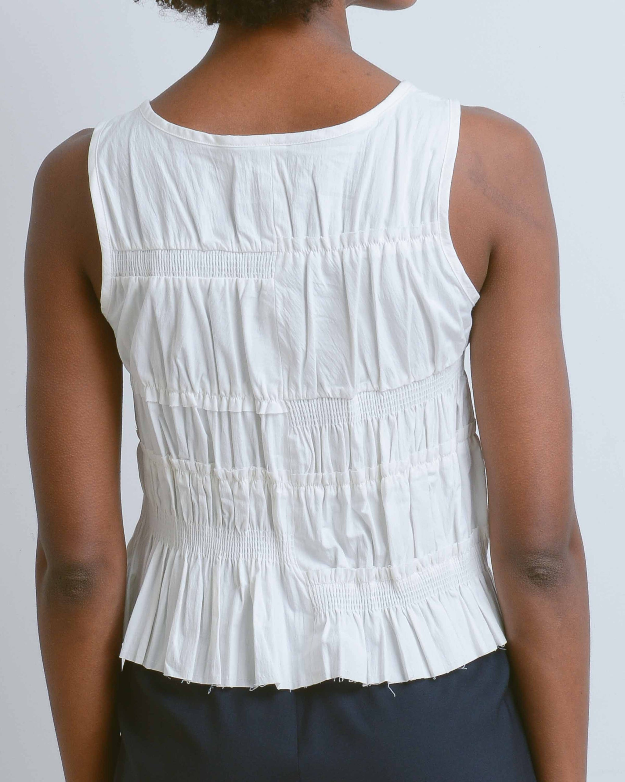 White Hawaiiana Shirring Top