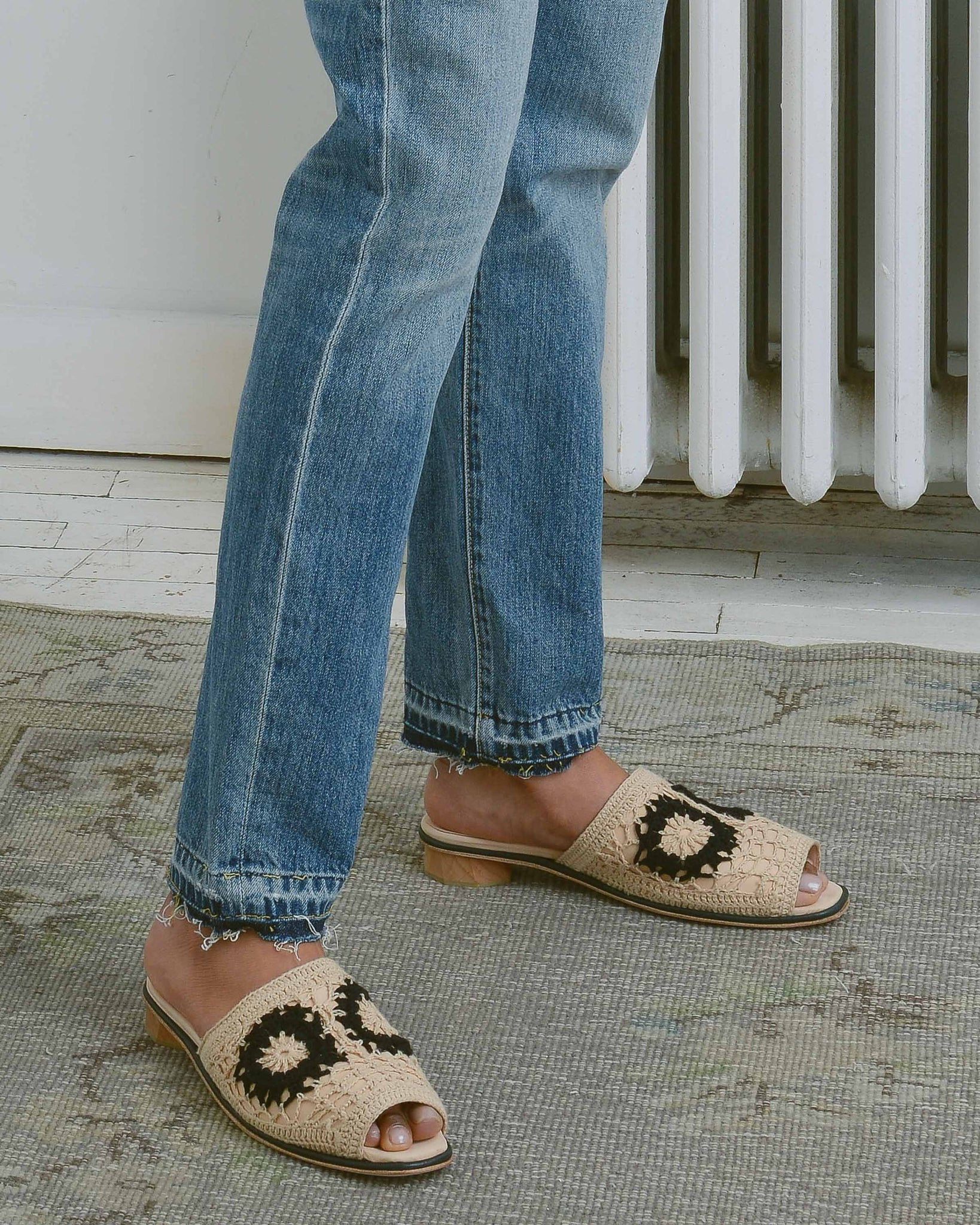 Nude Crochet Open Toe Slides