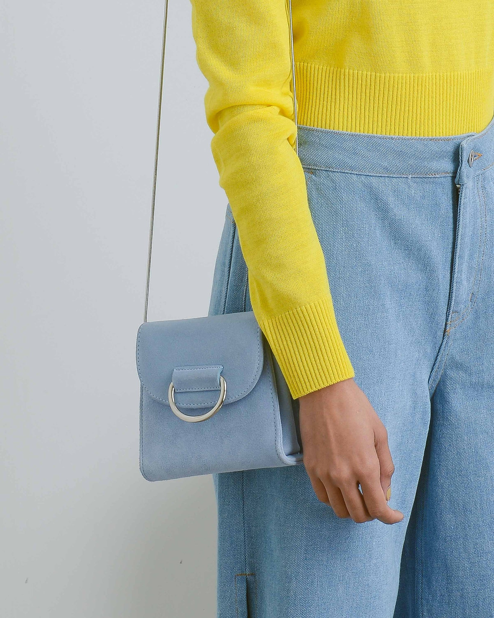 Powder Blue Suede Tiny Box Bag