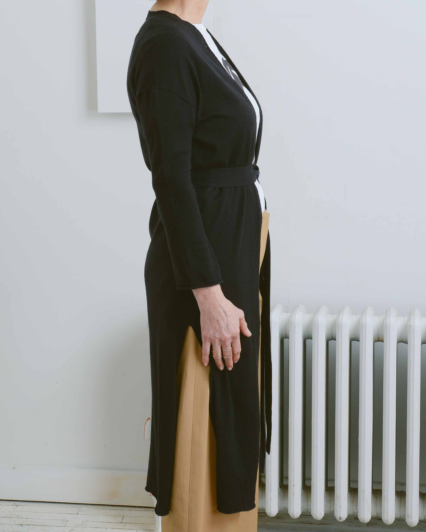 Black Long Cardigan With Tie